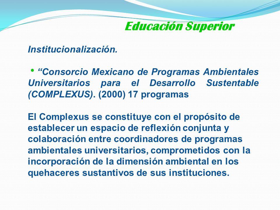 Institucionalización. Consorcio Mexicano de Programas Ambientales Universitarios para el Desarrollo Sustentable (COMPLEXUS). (2000) 17 programas El Co