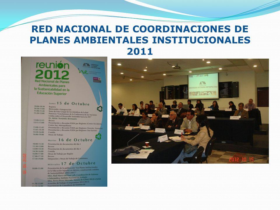 RED NACIONAL DE COORDINACIONES DE PLANES AMBIENTALES INSTITUCIONALES 2011