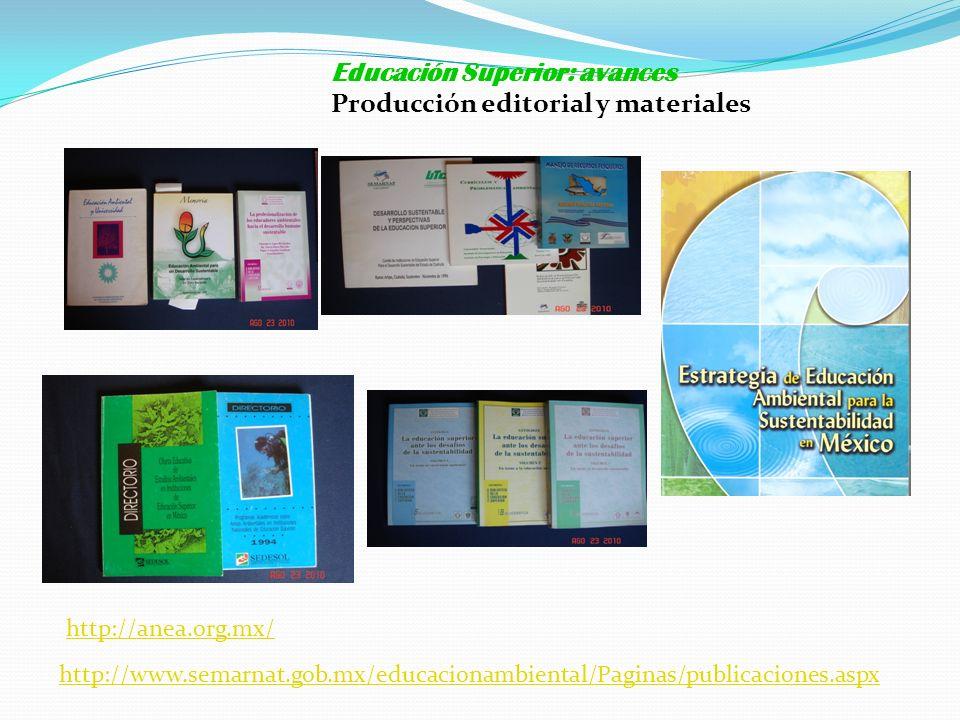 http://anea.org.mx/ Educación Superior: avances Producción editorial y materiales http://www.semarnat.gob.mx/educacionambiental/Paginas/publicaciones.