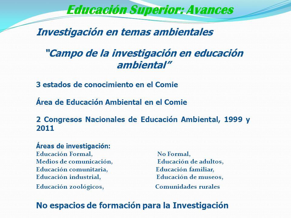 Investigación en temas ambientales Campo de la investigación en educación ambiental 3 estados de conocimiento en el Comie Área de Educación Ambiental