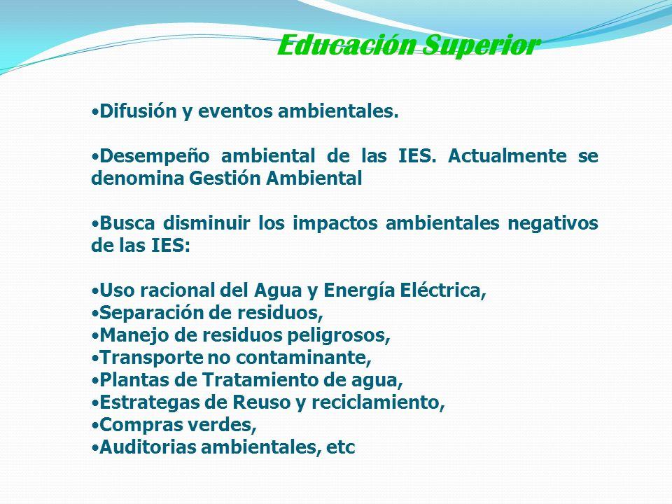 Difusión y eventos ambientales. Desempeño ambiental de las IES. Actualmente se denomina Gestión Ambiental Busca disminuir los impactos ambientales neg