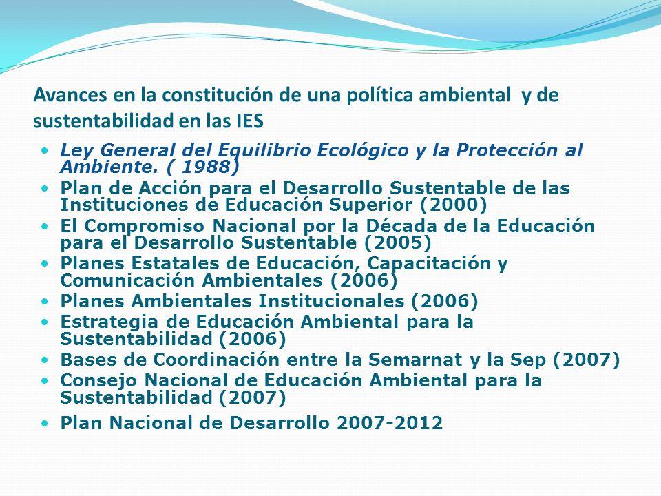 Avances en la constitución de una política ambiental y de sustentabilidad en las IES Ley General del Equilibrio Ecológico y la Protección al Ambiente.