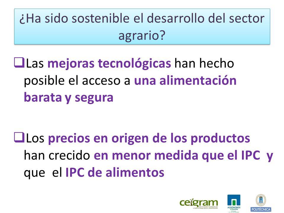 Las mejoras tecnológicas han hecho posible el acceso a una alimentación barata y segura Los precios en origen de los productos han crecido en menor medida que el IPC y que el IPC de alimentos ¿Ha sido sostenible el desarrollo del sector agrario?