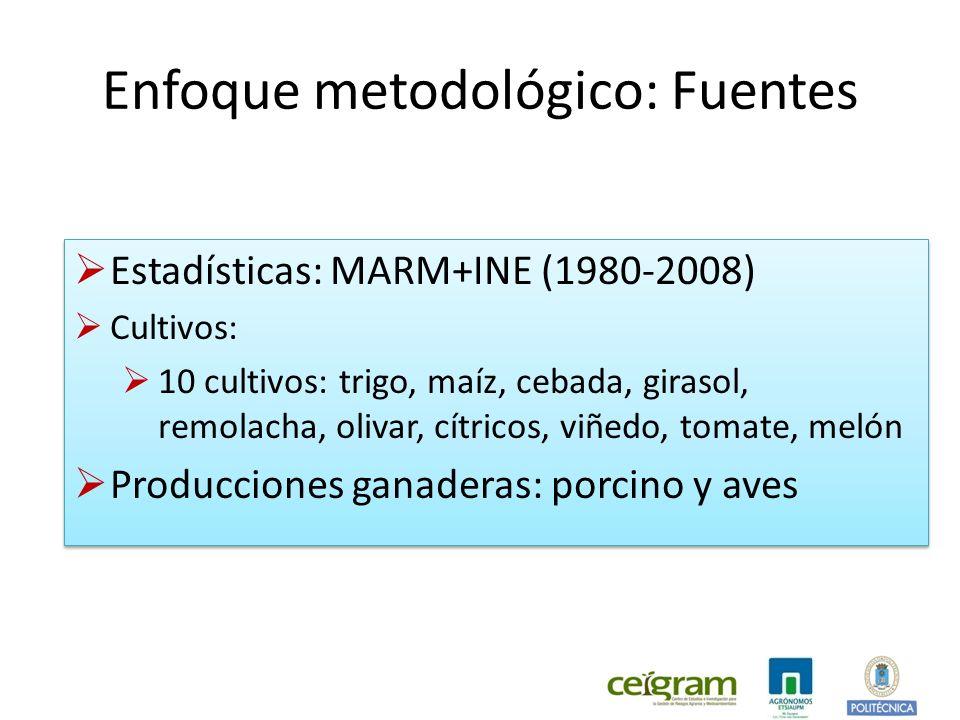 Enfoque metodológico: Fuentes Estadísticas: MARM+INE (1980-2008) Cultivos: 10 cultivos: trigo, maíz, cebada, girasol, remolacha, olivar, cítricos, viñedo, tomate, melón Producciones ganaderas: porcino y aves Estadísticas: MARM+INE (1980-2008) Cultivos: 10 cultivos: trigo, maíz, cebada, girasol, remolacha, olivar, cítricos, viñedo, tomate, melón Producciones ganaderas: porcino y aves