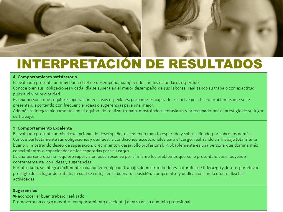 INTERPRETACIÓN DE RESULTADOS 4. Comportamiento satisfactorio El evaluado presenta un muy buen nivel de desempeño, cumpliendo con los estándares espera