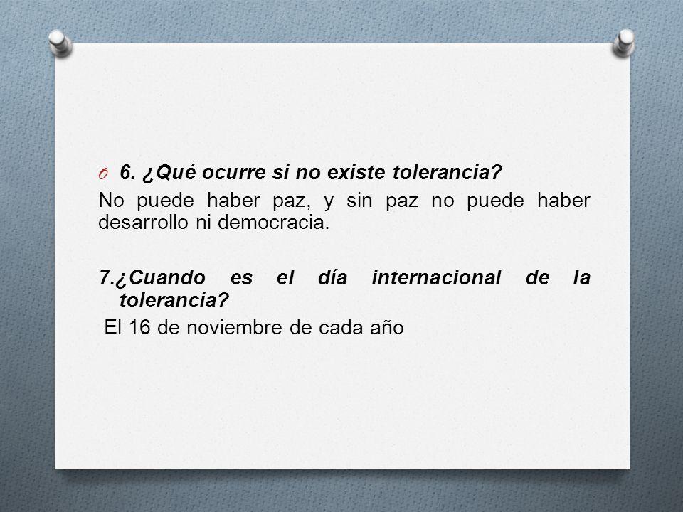O 6.¿Qué ocurre si no existe tolerancia.