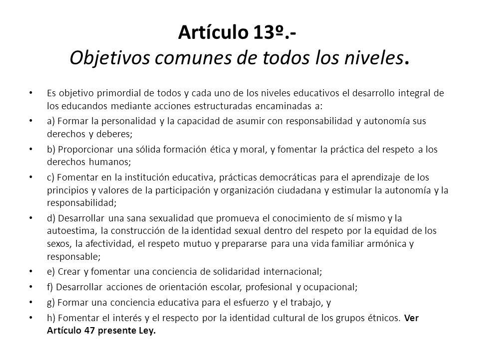 Artículo 13º.- Objetivos comunes de todos los niveles. Es objetivo primordial de todos y cada uno de los niveles educativos el desarrollo integral de