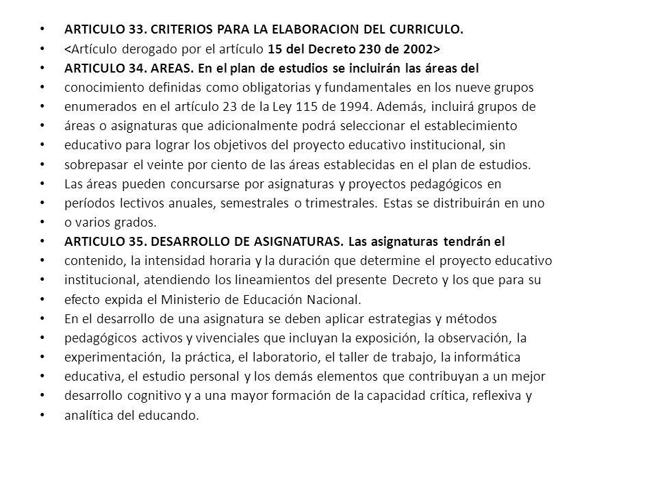 ARTICULO 33. CRITERIOS PARA LA ELABORACION DEL CURRICULO. ARTICULO 34. AREAS. En el plan de estudios se incluirán las áreas del conocimiento definidas