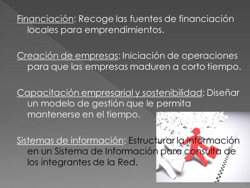 Financiación: Recoge las fuentes de financiación locales para emprendimientos. Creación de empresas: Iniciación de operaciones para que las empresas m