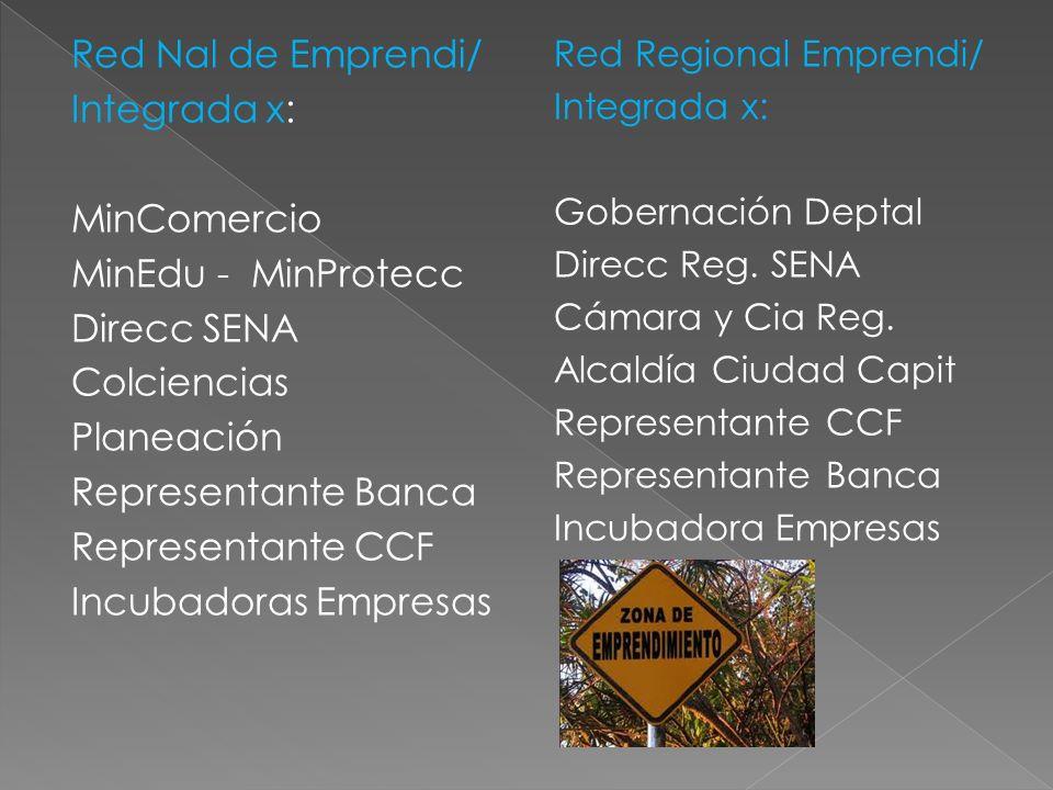 Red Nal de Emprendi/ Integrada x: MinComercio MinEdu - MinProtecc Direcc SENA Colciencias Planeación Representante Banca Representante CCF Incubadoras