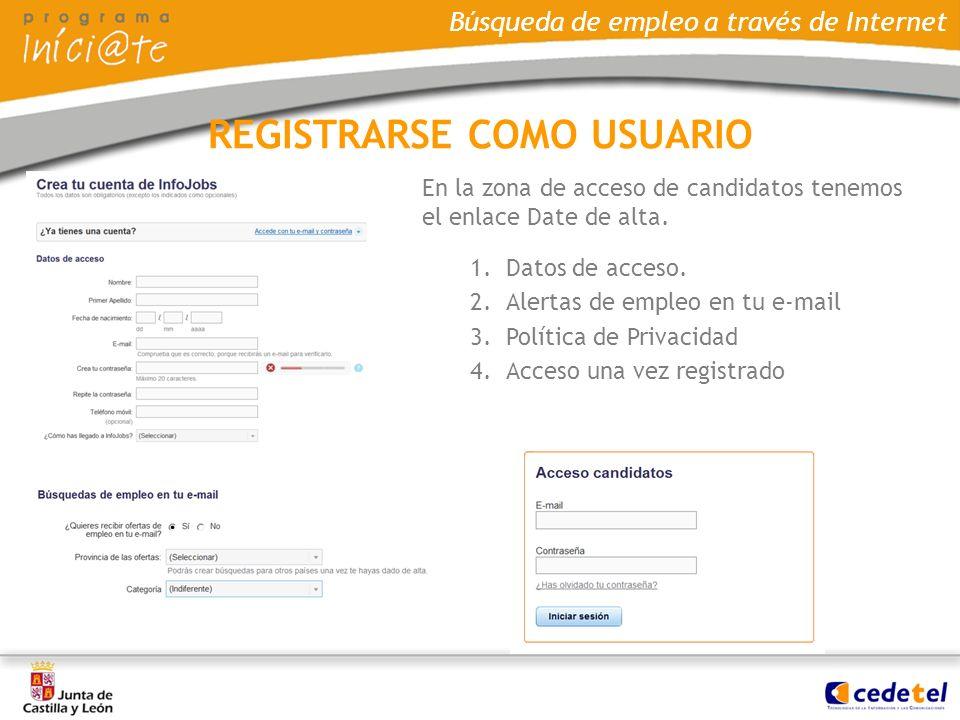 Búsqueda de empleo a través de Internet En la zona de acceso de candidatos tenemos el enlace Date de alta. 1.Datos de acceso. 2.Alertas de empleo en t