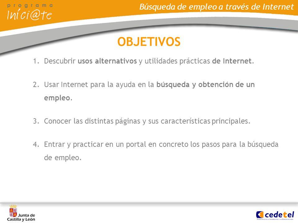 Búsqueda de empleo a través de Internet 1.Descubrir usos alternativos y utilidades prácticas de Internet. 2.Usar Internet para la ayuda en la búsqueda