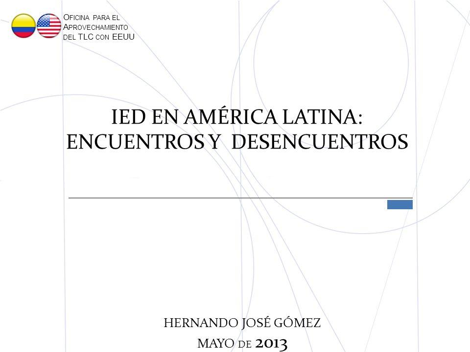 IED EN AMÉRICA LATINA: ENCUENTROS Y DESENCUENTROS O FICINA PARA EL A PROVECHAMIENTO DEL TLC CON EEUU HERNANDO JOSÉ GÓMEZ MAYO DE 2013