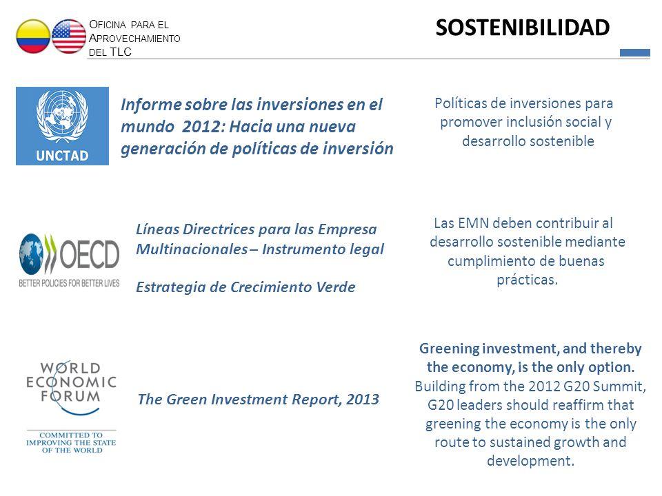 O FICINA PARA EL A PROVECHAMIENTO DEL TLC SOSTENIBILIDAD Informe sobre las inversiones en el mundo 2012: Hacia una nueva generación de políticas de in