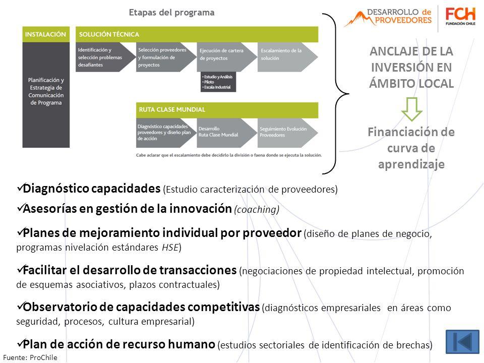 O FICINA PARA EL A PROVECHAMIENTO DEL TLC ANCLAJE DE LA INVERSIÓN EN ÁMBITO LOCAL Financiación de curva de aprendizaje Diagnóstico capacidades (Estudi