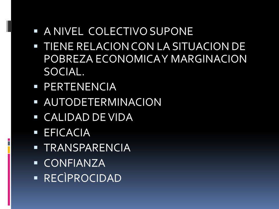 DIMENSIONES A NIVEL INDIVIDUAL SUPONE: AUTOFORTALECIMIENTO AUTONOMIA PODER PROPIO AUTOCONFIANZA INDEPENDENCIA.