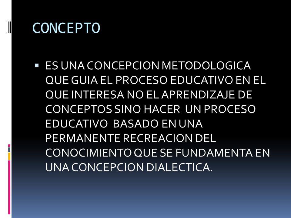 CONCEPTO ES UNA CONCEPCION METODOLOGICA QUE GUIA EL PROCESO EDUCATIVO EN EL QUE INTERESA NO EL APRENDIZAJE DE CONCEPTOS SINO HACER UN PROCESO EDUCATIVO BASADO EN UNA PERMANENTE RECREACION DEL CONOCIMIENTO QUE SE FUNDAMENTA EN UNA CONCEPCION DIALECTICA.
