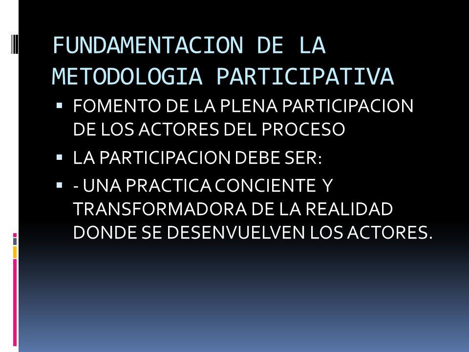 FUNDAMENTACION DE LA METODOLOGIA PARTICIPATIVA FOMENTO DE LA PLENA PARTICIPACION DE LOS ACTORES DEL PROCESO LA PARTICIPACION DEBE SER: - UNA PRACTICA CONCIENTE Y TRANSFORMADORA DE LA REALIDAD DONDE SE DESENVUELVEN LOS ACTORES.