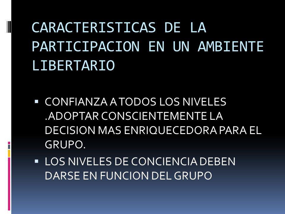 CARACTERISTICAS DE LA PARTICIPACION EN UN AMBIENTE LIBERTARIO CONFIANZA A TODOS LOS NIVELES.ADOPTAR CONSCIENTEMENTE LA DECISION MAS ENRIQUECEDORA PARA EL GRUPO.
