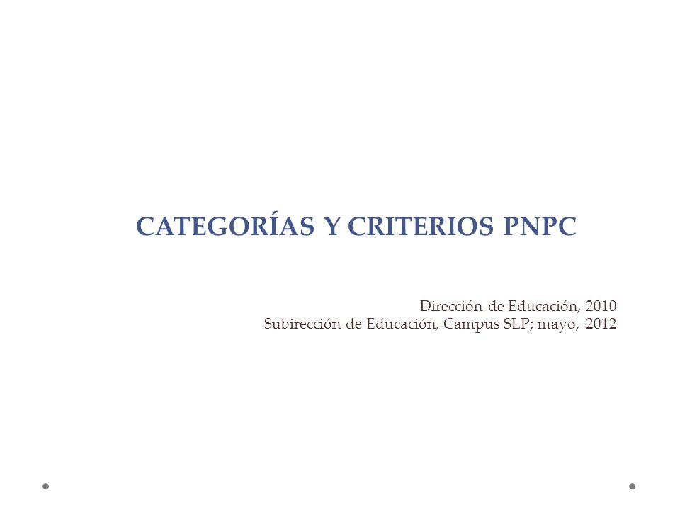 CATEGORÍAS Y CRITERIOS PNPC Dirección de Educación, 2010 Subirección de Educación, Campus SLP; mayo, 2012