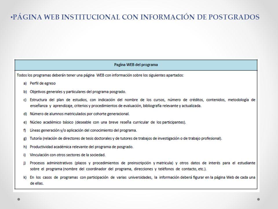 PÁGINA WEB INSTITUCIONAL CON INFORMACIÓN DE POSTGRADOS