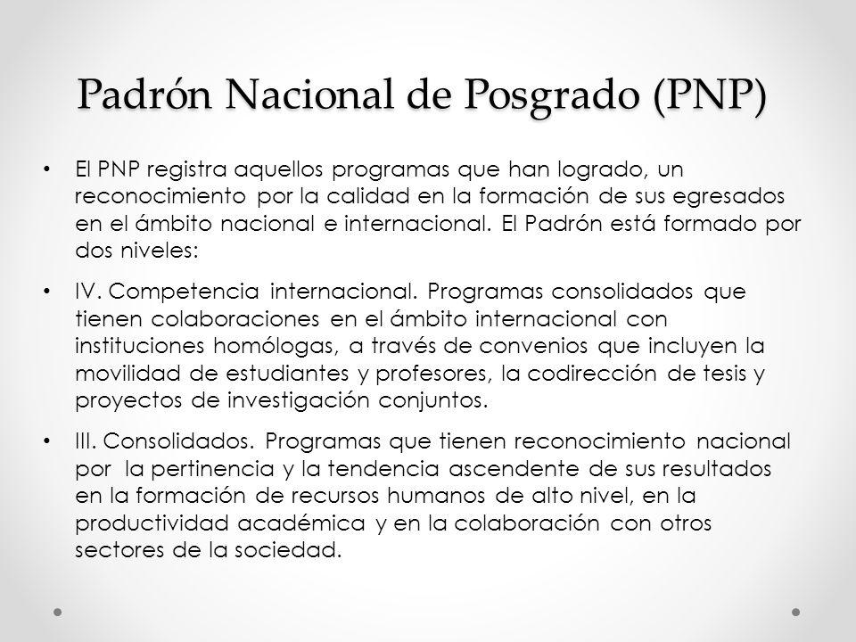 Padrón Nacional de Posgrado (PNP) El PNP registra aquellos programas que han logrado, un reconocimiento por la calidad en la formación de sus egresados en el ámbito nacional e internacional.