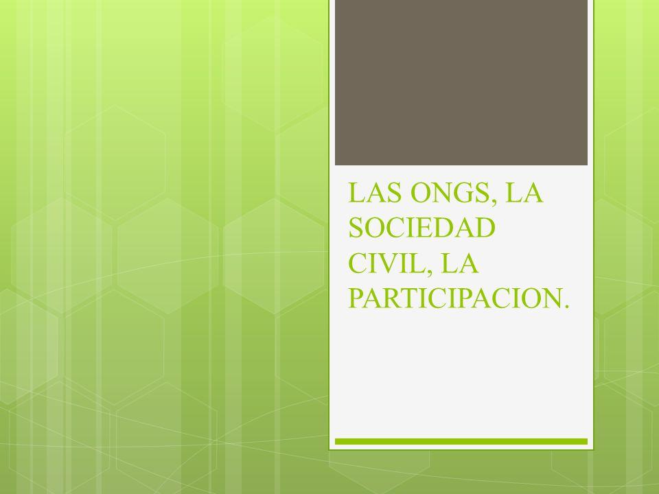LAS ONGS, COMO SU PROPIO NOMBRE LO INDICA, SON ORGANISMOS CONFORMADOS POR LA SOCIEDAD CIVIL.