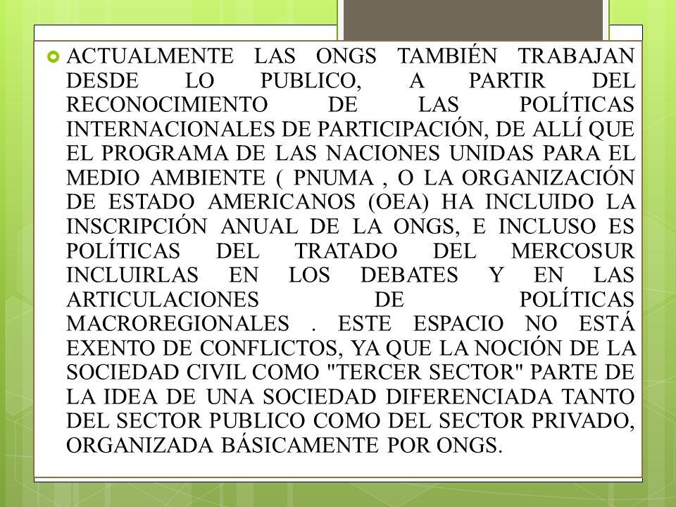 ACTUALMENTE LAS ONGS TAMBIÉN TRABAJAN DESDE LO PUBLICO, A PARTIR DEL RECONOCIMIENTO DE LAS POLÍTICAS INTERNACIONALES DE PARTICIPACIÓN, DE ALLÍ QUE EL