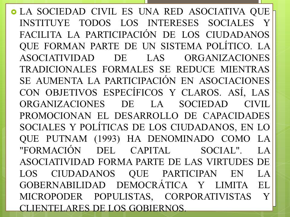 LA SOCIEDAD CIVIL ES UNA RED ASOCIATIVA QUE INSTITUYE TODOS LOS INTERESES SOCIALES Y FACILITA LA PARTICIPACIÓN DE LOS CIUDADANOS QUE FORMAN PARTE DE U