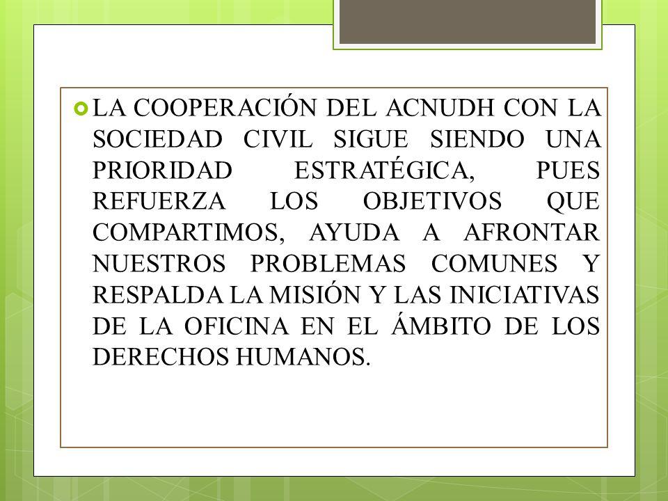 LA EXISTENCIA DE UNA SOCIEDAD CIVIL DINÁMICA, DIVERSA E INDEPENDIENTE, CAPAZ DE ACTUAR LIBREMENTE Y BIEN INFORMADA Y PREPARADA EN LO QUE SE REFIERE A LOS DERECHOS HUMANOS, ES FUNDAMENTAL PARA GARANTIZAR UNA PROTECCIÓN SOSTENIBLE DE LOS DERECHOS HUMANOS EN TODAS LAS REGIONES DEL MUNDO.