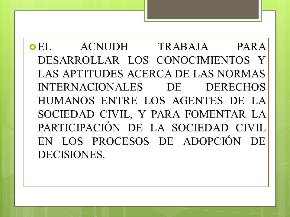 EL ACNUDH TRABAJA PARA DESARROLLAR LOS CONOCIMIENTOS Y LAS APTITUDES ACERCA DE LAS NORMAS INTERNACIONALES DE DERECHOS HUMANOS ENTRE LOS AGENTES DE LA