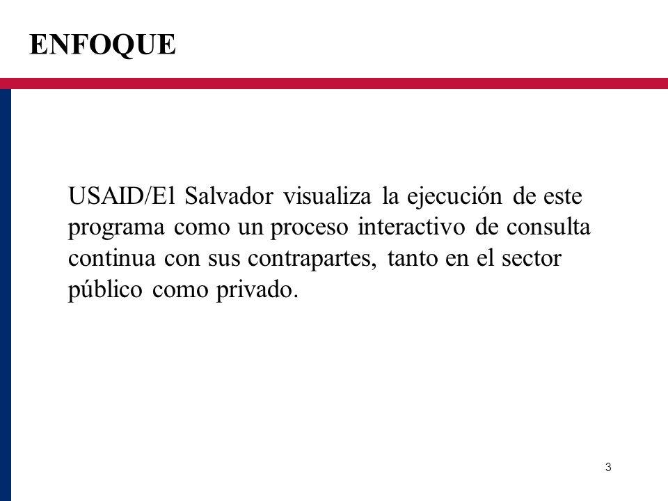 ENFOQUE USAID/El Salvador visualiza la ejecución de este programa como un proceso interactivo de consulta continua con sus contrapartes, tanto en el s