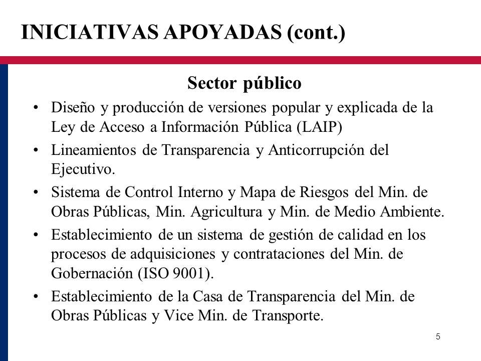 INICIATIVAS APOYADAS (cont.) Sector público Diseño y producción de versiones popular y explicada de la Ley de Acceso a Información Pública (LAIP) Line