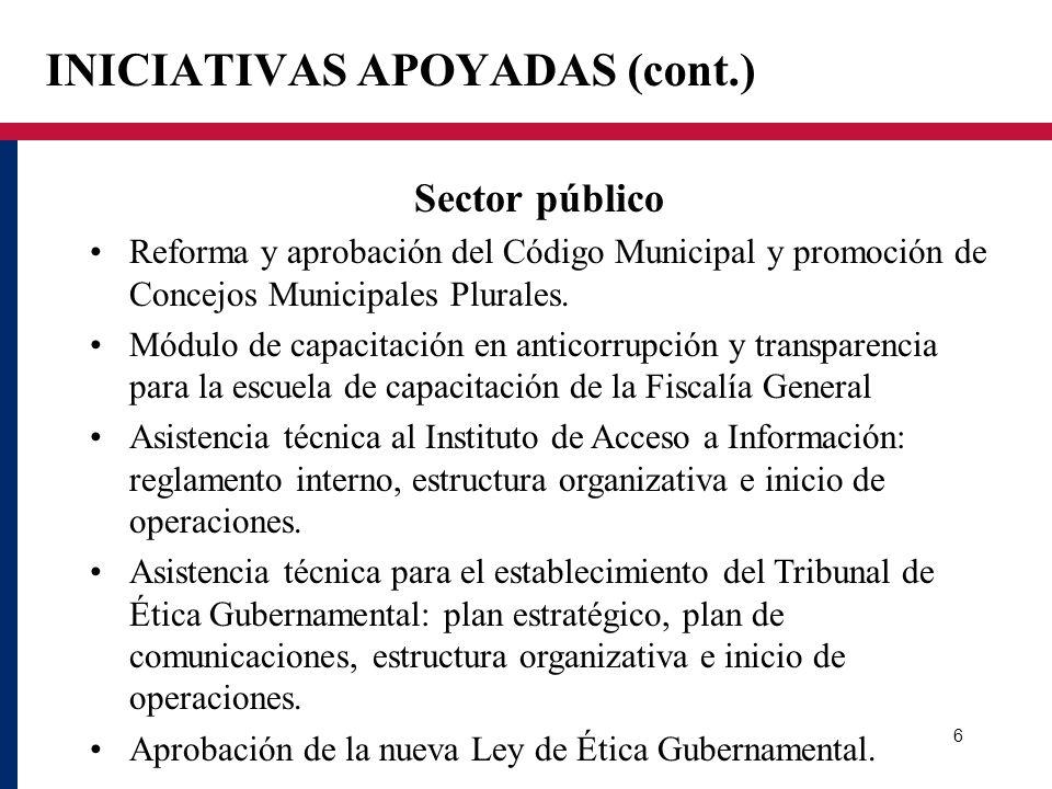 INICIATIVAS APOYADAS (cont.) Sector público Reforma y aprobación del Código Municipal y promoción de Concejos Municipales Plurales. Módulo de capacita