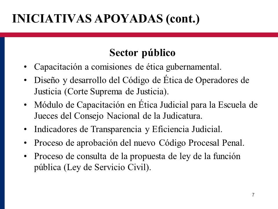 INICIATIVAS APOYADAS (cont.) Sector público Capacitación a comisiones de ética gubernamental. Diseño y desarrollo del Código de Ética de Operadores de