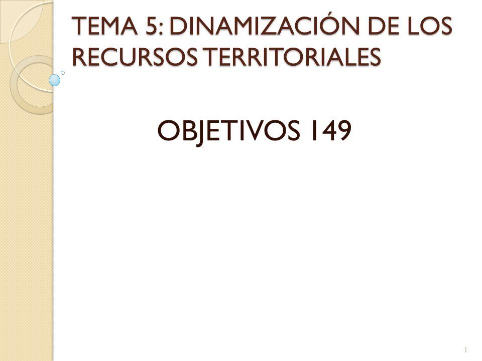 TEMA 5: DINAMIZACIÓN DE LOS RECURSOS TERRITORIALES OBJETIVOS 149 1