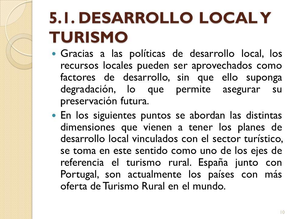 5.1. DESARROLLO LOCAL Y TURISMO Gracias a las políticas de desarrollo local, los recursos locales pueden ser aprovechados como factores de desarrollo,