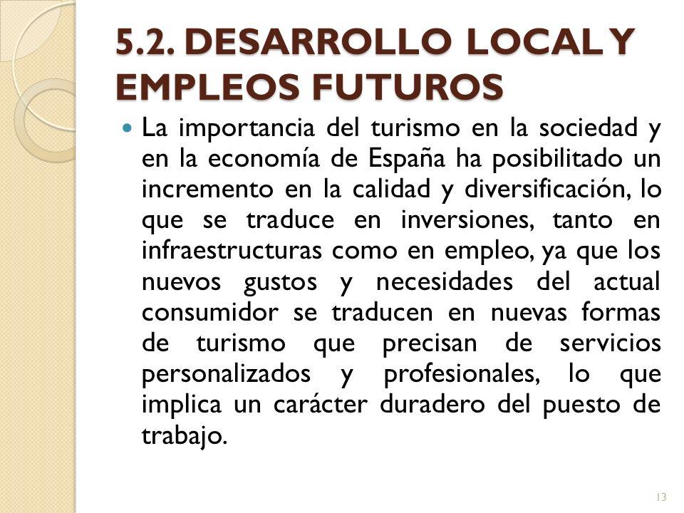 5.2. DESARROLLO LOCAL Y EMPLEOS FUTUROS La importancia del turismo en la sociedad y en la economía de España ha posibilitado un incremento en la calid