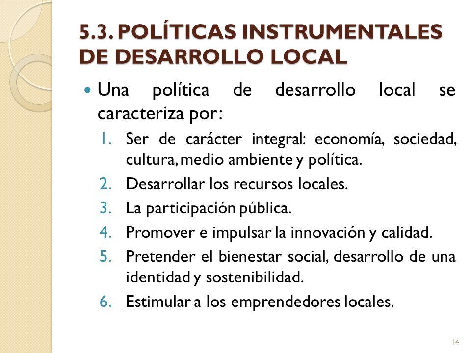5.3. POLÍTICAS INSTRUMENTALES DE DESARROLLO LOCAL Una política de desarrollo local se caracteriza por: 1.Ser de carácter integral: economía, sociedad,