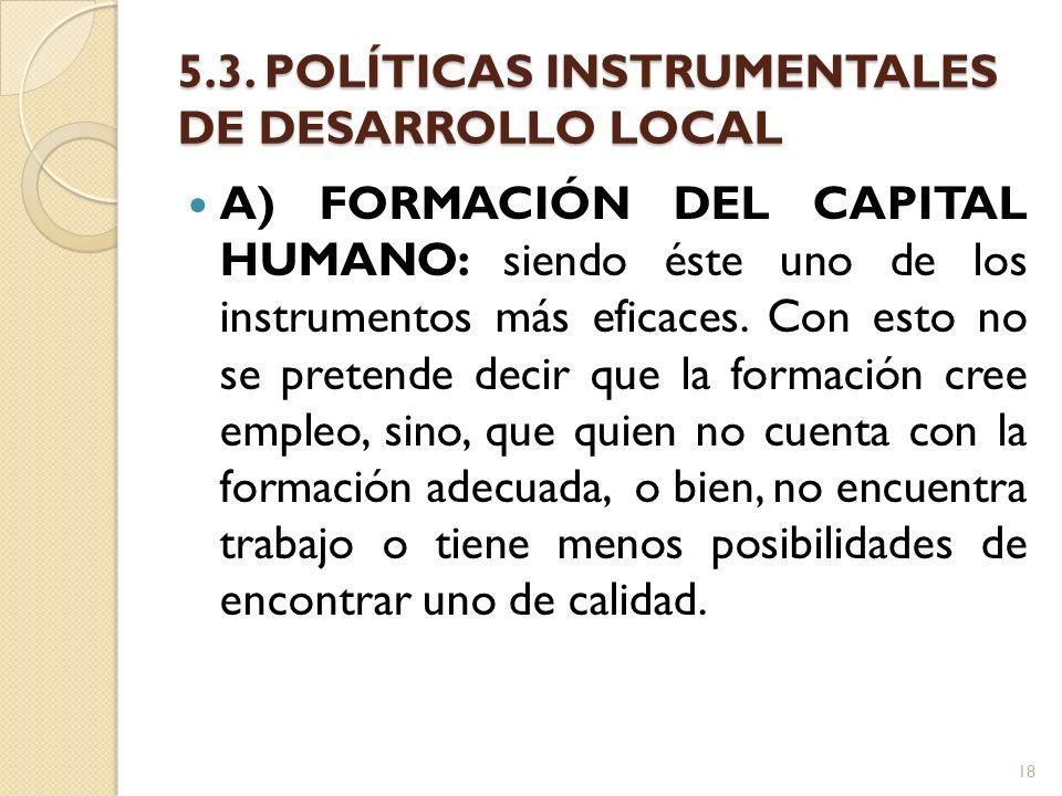 5.3. POLÍTICAS INSTRUMENTALES DE DESARROLLO LOCAL A) FORMACIÓN DEL CAPITAL HUMANO: siendo éste uno de los instrumentos más eficaces. Con esto no se pr