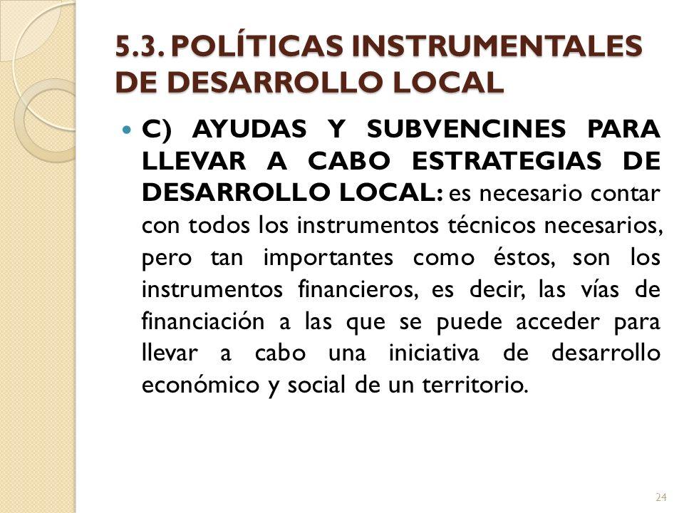 5.3. POLÍTICAS INSTRUMENTALES DE DESARROLLO LOCAL C) AYUDAS Y SUBVENCINES PARA LLEVAR A CABO ESTRATEGIAS DE DESARROLLO LOCAL: es necesario contar con
