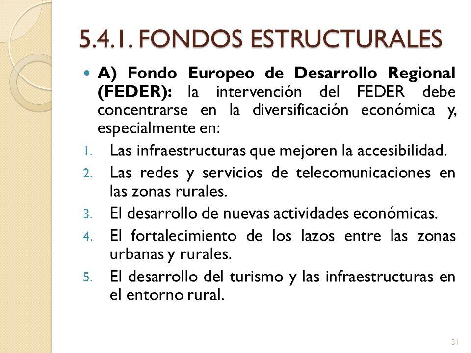 5.4.1. FONDOS ESTRUCTURALES A) Fondo Europeo de Desarrollo Regional (FEDER): la intervención del FEDER debe concentrarse en la diversificación económi