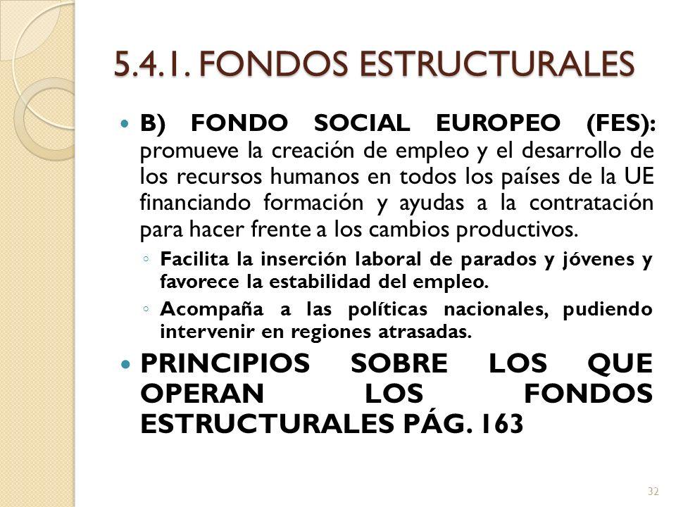 5.4.1. FONDOS ESTRUCTURALES B) FONDO SOCIAL EUROPEO (FES): promueve la creación de empleo y el desarrollo de los recursos humanos en todos los países
