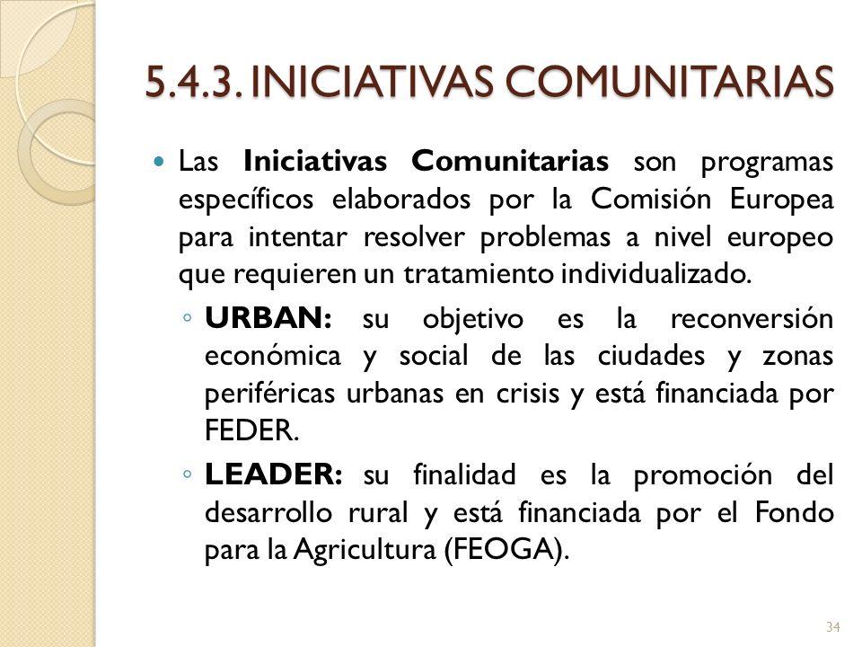 5.4.3. INICIATIVAS COMUNITARIAS Las Iniciativas Comunitarias son programas específicos elaborados por la Comisión Europea para intentar resolver probl