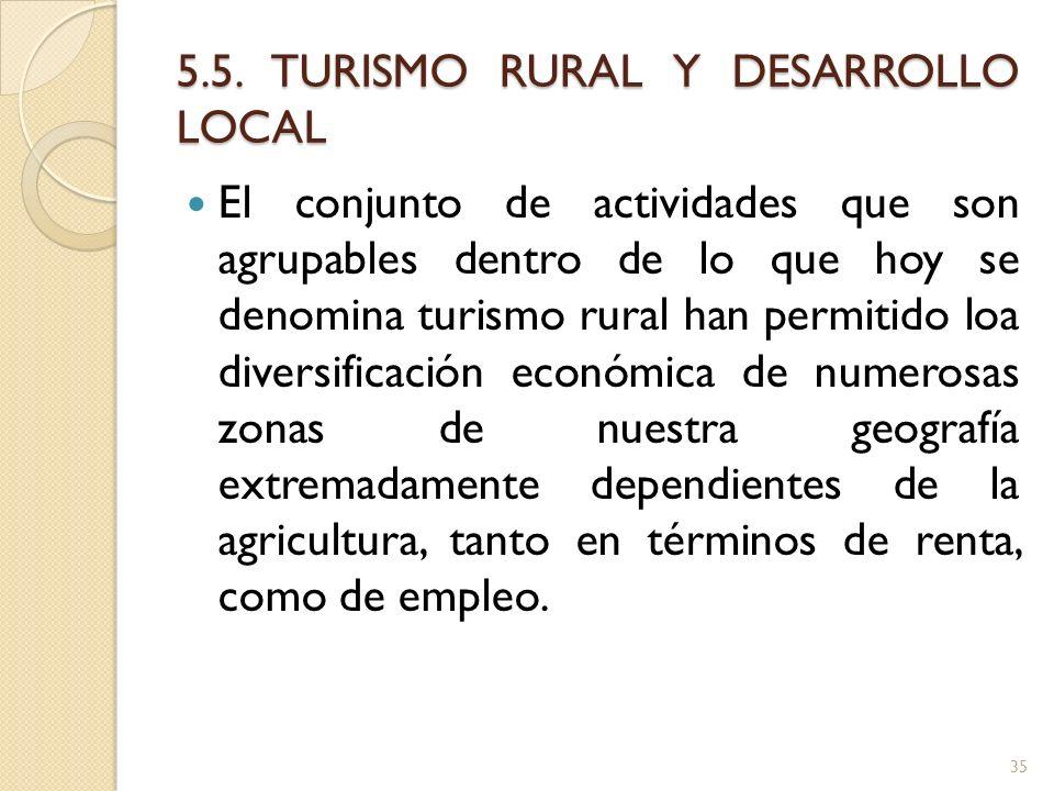 5.5. TURISMO RURAL Y DESARROLLO LOCAL El conjunto de actividades que son agrupables dentro de lo que hoy se denomina turismo rural han permitido loa d