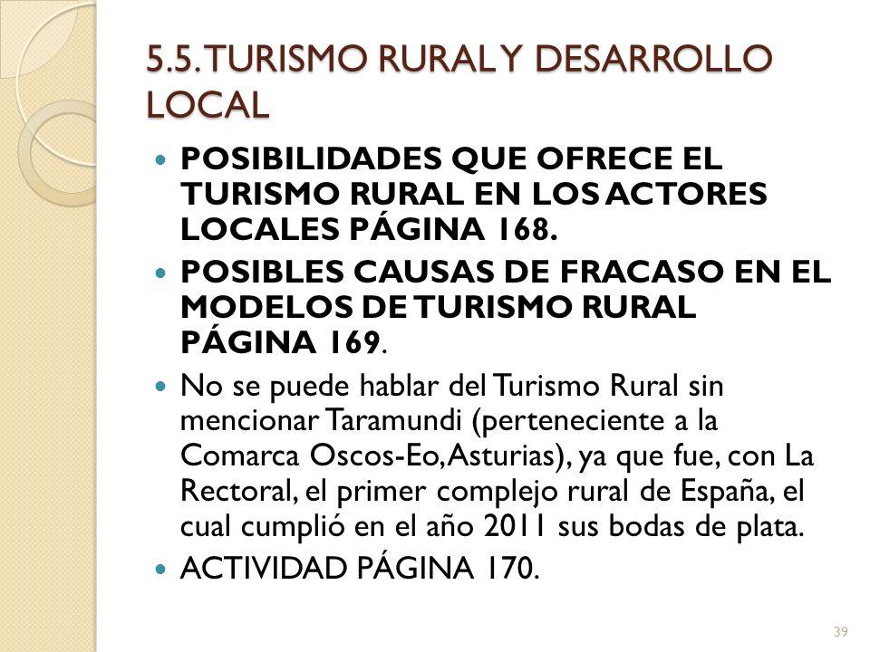 5.5. TURISMO RURAL Y DESARROLLO LOCAL POSIBILIDADES QUE OFRECE EL TURISMO RURAL EN LOS ACTORES LOCALES PÁGINA 168. POSIBLES CAUSAS DE FRACASO EN EL MO