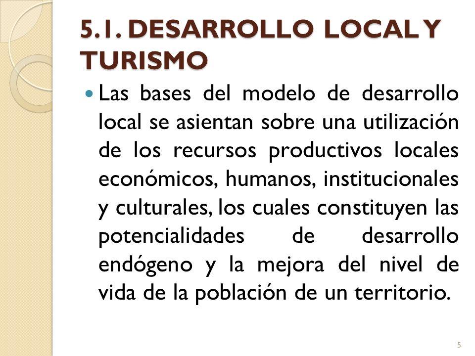 5.1. DESARROLLO LOCAL Y TURISMO Las bases del modelo de desarrollo local se asientan sobre una utilización de los recursos productivos locales económi