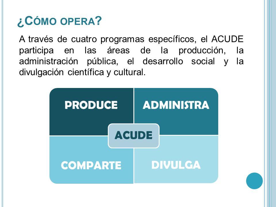A través de cuatro programas específicos, el ACUDE participa en las áreas de la producción, la administración pública, el desarrollo social y la divul