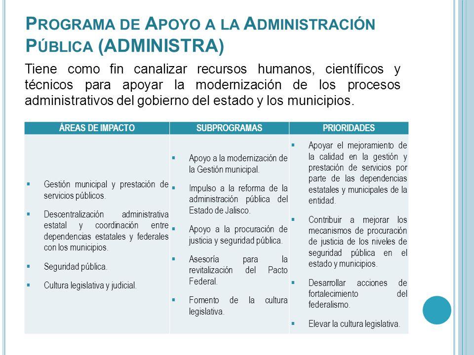 P ROGRAMA DE A POYO A LA A DMINISTRACIÓN P ÚBLICA (ADMINISTRA) Tiene como fin canalizar recursos humanos, científicos y técnicos para apoyar la modern