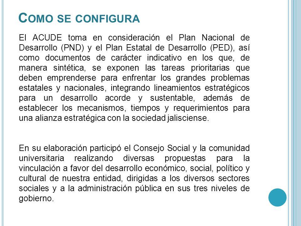C OMO SE CONFIGURA El ACUDE toma en consideración el Plan Nacional de Desarrollo (PND) y el Plan Estatal de Desarrollo (PED), así como documentos de c